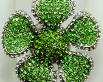Floral Green Rhinestone Ring/Statement Ring/Gift For Her/Spring/Summer Jewelry/Wedding Jewelry/Under 20 USD/Adjustable