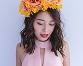 orange and peach festive spring racing flower crown fascinator // statement floral headpiece headband, races melbourne cup, carnival