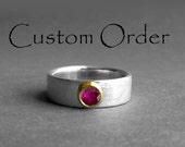 Custom Order for Pam: Ruby 22K Gold Sterling Silver Ring