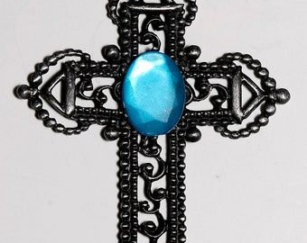Vintage Silver Blue Glass Stone Large Cross Pendant Religious