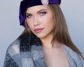 Purple Velvet Beret, Chemo Hat, French Beret, Large Beret, Slouchy Hat, Alopecia Hat