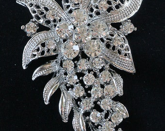 Rhinestone Flower Brooch, Flower Pin, Lapel Brooch, Hat Pin, Vintage Style Brooch 10-13