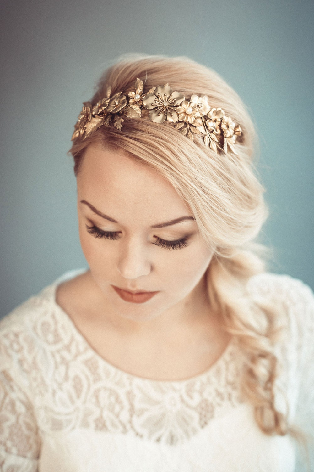 Gold Bridal Headpiece Golden Floral Tiara Bridal Headband