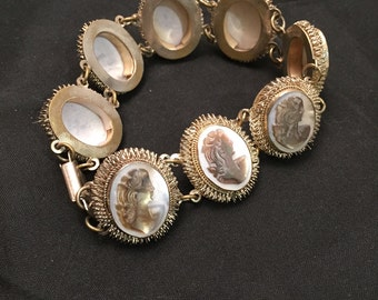 Cameo Bracelet Chain Link Right Facing Portraits Victorian Style Grey Shell Italian Carved Silver And Brass