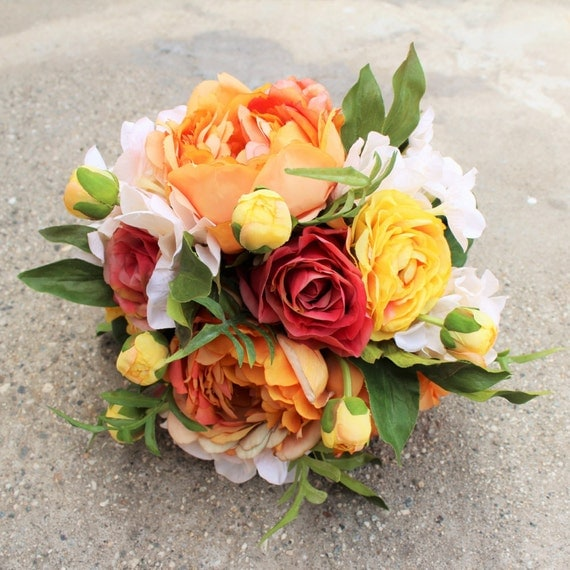 Coral Orange & Cream Color Silk Flower Bouquet Bridal