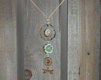Graduated Glass Flowers and Dragonflies Pendant on Gold Filled  Chain