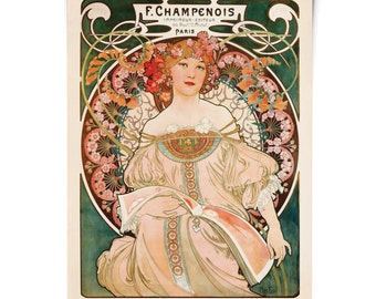 Art Nouveau / F. Champenois by Alphonse Mucha Poster- Vintage French Advertisements Reproduction Print. Fine Art Antique - CP305