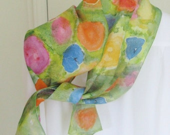 Hand painted silk scarf blue orange pink yellow green floral  Canadian design