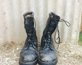 VTG Military COMBAT Lace Up Grunge Boots Black Leather Mens 10.5 Distressed Work Boots