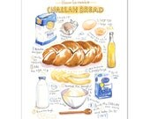 Challah bread recipe print, Kitchen wall art, Illustrated recipe poster, Food artwork, Watercolor food painting, 8X10 print, Kitchen decor
