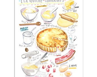 Quiche Lorraine recipe print, Yellow kitchen decor, 8X10, French cooking, Kitchen wall art, Watercolor food, Food painting, Kitchen poster
