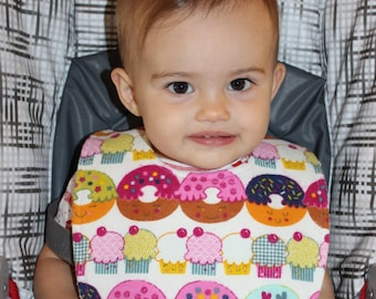 Happy Cupcakes Flannel / Terry Cloth Bib