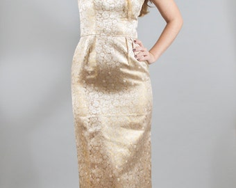 Vintage 1950s 50s Gold Brocade Wiggle Dress Gown Marilyn Monroe Pinup Bombshell Red Carpet