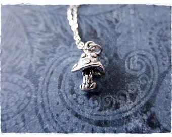 Silver Toadstool Necklace - Sterling Silver Toadstool Charm on a Delicate Sterling Silver Cable Chain or Charm Only