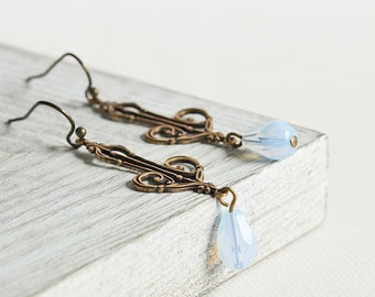 Pale Blue Earrings - Opal Blue Teardrop Earrings with Antiqued Brass Filigree, Light Blue Dangle Earrings, Brass Earrings, Bead Dangles