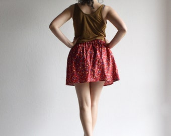 Mini skirt, women skirt, red skirt, floral skirt, short skirt, rockabilly skirt, cotton skirt, casual skirt, summer skirt, women clothing