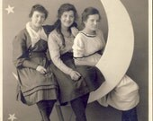 Three Young Girls on a PAPER MOON in Front of a Backdrop of STARS Photo Circa 1930s