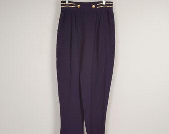 navy blue high waist parachute harem pants with gold braid and buttons 90s hip hop tapered leg pants women medium large