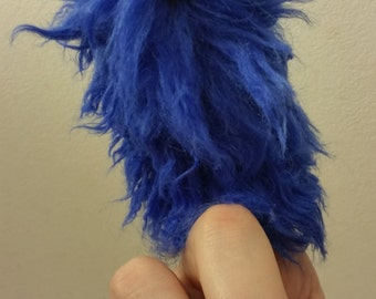 FUZZINGER: A Fuzzy Finger Puppet by All Hands Productions! (royal blue)