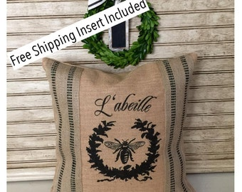 French Bee Burlap Pillow - L'abeille - Black Stripe - Insert Included