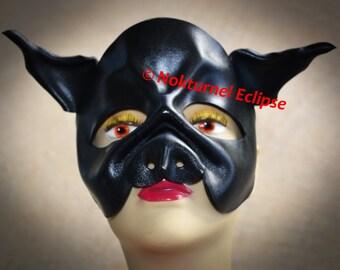 BLACK Pig Leather Mask by Nokturnel Eclipse Fetish Masquerade Cosplay Fantasy Slave Creepy Halloween Costume Unisex