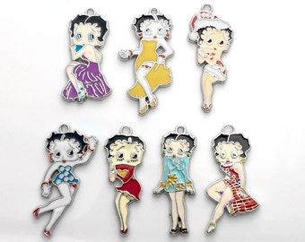 Betty Boop charm set - set of 10 random Betty Boop charms, pinup girl charms