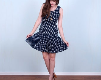 60's Polka Dot Dress / Navy White Drop Waist Dress Mod Nautical / Small