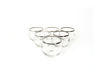 Vintage Silver Rimmed Roly Poly Glasses / Set of 6