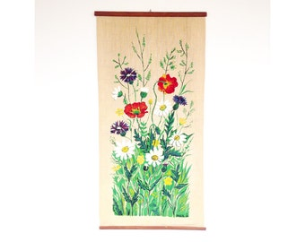 Vintage Screen Printed Floral Tapestry / Wall Hanging