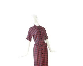 1940s Dress Small • 40s Plaid Wiggle Dress • Fitted Sheath • S
