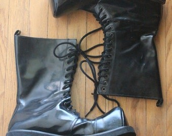 Vintage 90's Black Patent Leather Goth Deathrock Lace Up Boots, size Mens 10 1/2