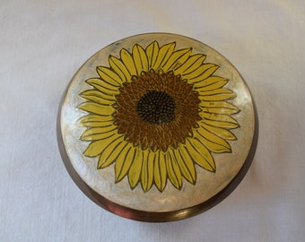 Vintage BRASS Enamel SUNFLOWER Covered Bowl 2 PC Brass Enamelware Bowl Hampton Brass Co Made in India Jewelry Box Covered Enamel Box