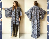 Vintage Japanese Deco Floral Print Full Length Silk Kimono Robe Duster Jacket