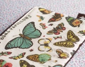 Vintage butterflies zipper pouch coin purse.Butterfly wallet.Butterfly Make Up Bag-pencil case.Multi purpose bag.Gadget Pouch.Back to school