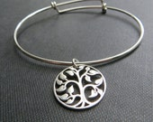 Mother of bride gift, Tree of life bangle, mom bracelet, wedding day gift from bride or groom, future mother in law thank you gift