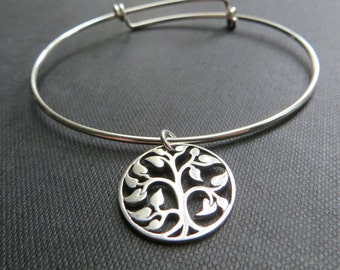 Mother of groom gift, Silver Tree of life bangle bracelet, wedding day gift from bride or groom, large tree charm, mother in law, nymetals