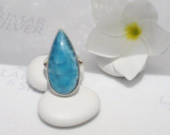 Larimarandsilver ring size 7.75, Caribbean Secret - deep blue Larimar pear, scaly blue, electric blue, blue dragon, handcrafted Larimar ring