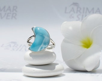 Larimarandsilver ring size 6.5, Mermaid Honeymoon, turquoise Larimar crecent, blue moon ring, sky blue, blue crescent, handmade Larimar ring