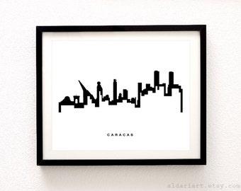 Caracas Skyline Print - Caracas Cityscape Print - Caracas Wall Art - Modern City Print - Black and White - Minimalist Cityscape