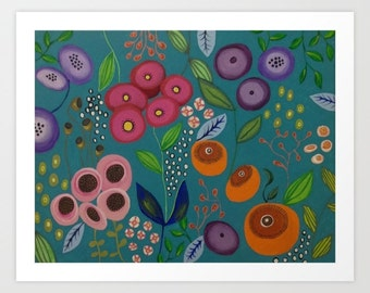 Original Abstract Flowery Flower Floral Decorative Art Print Viridian Art
