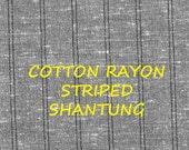 1 YARD, Gray Narrow Black Stripes, Shantung Fashion Fabric, Slub Textured, Medium Weight, Cotton Rayon, B30
