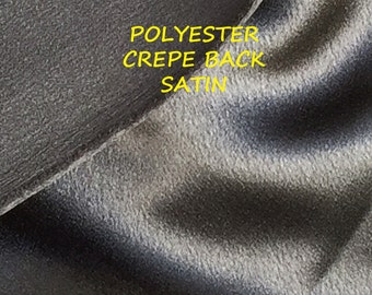 1-1/2 YARDS, Glossy Black, Crepe Back Satin, Fashion or Lining Fabric, Medium Weight Polyester, B30