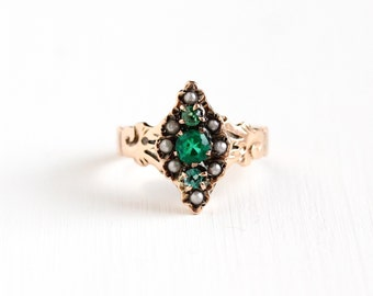 Sale - Antique Victorian 10k Rose Gold Green Garnet Doublet Seed Pearl Ring - Vintage Late 1800s Size 6.5 Green Gem Navette Fine Jewelry