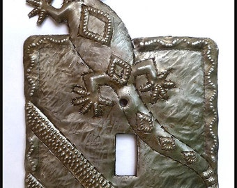 Metal Light Switchplate Cover - Gecko Design - Metal Switch Plate - 1 hole Switch Cover - Light Switch -  Haitian Steel Drum Art - SP-118-1