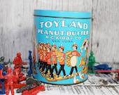 Toyland Peanut Butter Tin, Circus Animals, Elephant, Camel, Vintage Cerulean Blue Tin