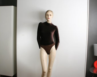 Cosabella Made in Italy Velvet Ribbed Brown Bodysuit Leotard mock turtleneck long sleeve Vintage 90s Medium
