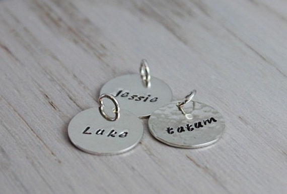 """personalized name disc   medium 5/8""""   sterling silver stamped name disc   name tag pendant   round name charm   kids names necklace"""