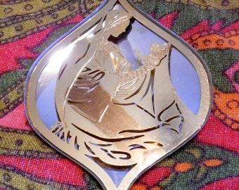 70s Oneida Dimensional Silver Trimmer Madonna Christmas Tree ornament