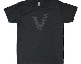 Mens Vegetarian T Shirt or Vegan V Shirt - Kale / Vegetable Tshirt Foodie Tee - Mens / Unisex Tri Blend or 50/50 Dark Gray - Size S, M, L XL