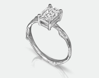 Emerald Cut Moissanite Twig Engagement Ring - White Gold - Unique Diamond Alternative Ring